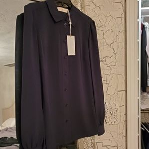 New Tory Burch button up navy blouse with tags
